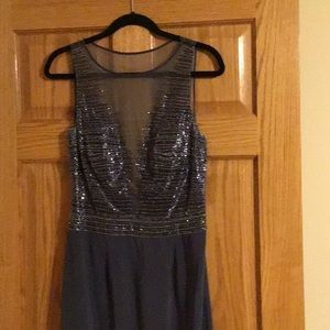 Boutique Beaded Pewter Special Occasion Dress